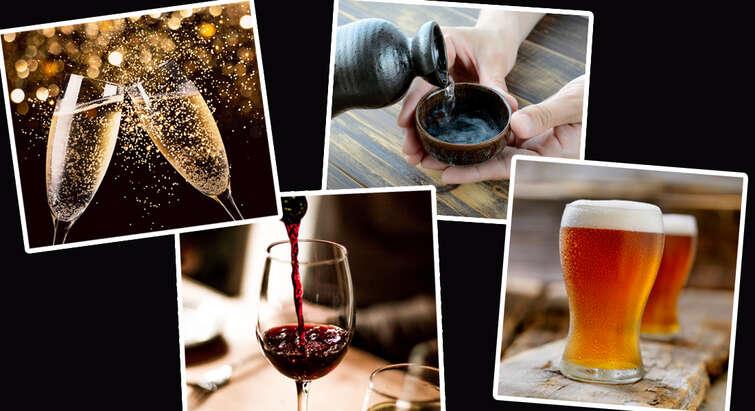 Foto af sake, champagne, øl og vin