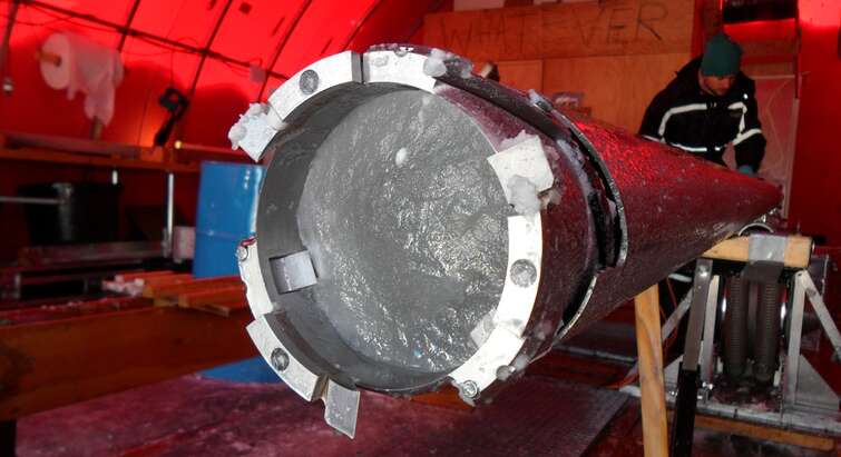 Ice core drilled at the NEEM ice coring project in Greenland.