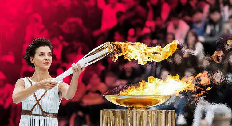 OL-flamme på olympen