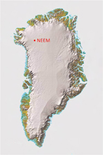 Kortet viser NEEM campen på Indlandisen