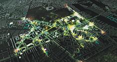 Foto af området med videnspladser osv. markeret m. lys