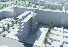 I forgrunden ses en model af den tilbygning, som skal huse Copenhagen Plant Science Center