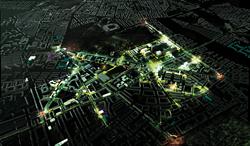 Oversigtskort over Vidensbydel Nørre Campus med centrale steder markeret med lys.