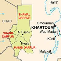 Kort over Dafur