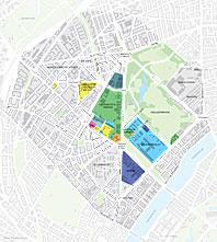 Kort over den nordlige del af København med området for den ny vidensbydel farvelagt.