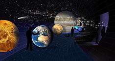 Udstillingen VERDENSRUMMET bliver en vandring fra solen forbi de forskellige planeter med kurs mod den yderste kant af vores solsystem. Illustration: Statens Naturhistoriske Museum og James Norton.