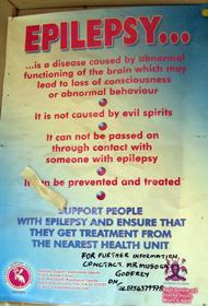 En oplysningsplakat fortæller, at epilepsi ikke skyldes onde ånder